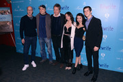 "(L-R) Chris Elliott, Marc Lawrence, Hugh Grant, Emily Morden, Annie Q and Steven Kaplan  attend The Cinema Society And Brooks Brothers Host A Screening Of ""The Rewrite"" at Landmark Sunshine Cinema on February 10, 2015 in New York City."