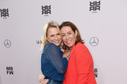 (L-R) Nova Meierhenrich and Martina Buckenmaier attend the Riani show during the Berlin Fashion Week Spring/Summer 2020 at ewerk on July 03, 2019 in Berlin, Germany.