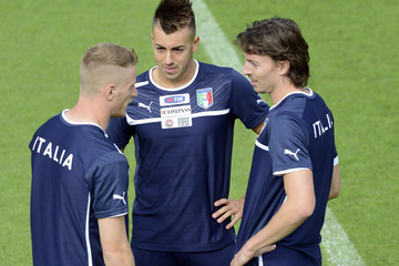 Riccardo Montolivo Ignazio Abate Italy Training Session & Press Conference