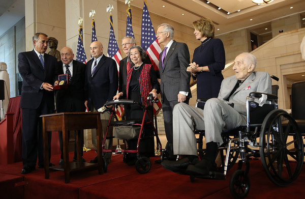 Congress Holds Gold Medal Ceremony Honoring WWII Monuments Men [wheelchair,event,mitch mcconnell,harry reid,speaker,nancy pelosi,men,l-r,wwii monuments men,house,senate,congress holds gold medal ceremony]