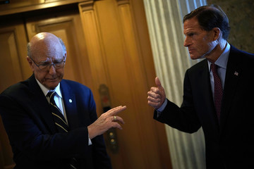 Richard Blumenthal Senate Lawmakers Speak To Reporters After Weekly Party Luncheons