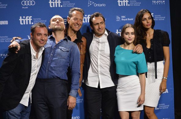 'Dom Hemingway' Press Conference in Toronto [event,premiere,performance,team,l-r,press conference,2013 toronto international film festival,richard shepard,dom hemingway,richard e. grant,demian bichir,jude law,emilia clarke,madalina ghenea]