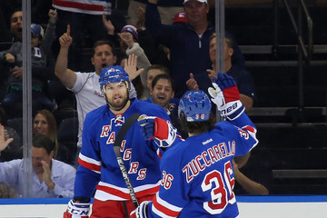 Rick Nash Mats Zuccarello Boston Bruins v New York Rangers
