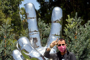 Ringo Starr visits his 'Peace and Love' sculpture to celebrate his 80th birthday on July 07, 2020 in Beverly Hills, California.