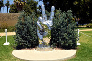 Ringo Starr's 'Peace and Love' sculpture is seen on his 80th birthday on July 07, 2020 in Beverly Hills, California.
