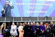 """Musician Ringo Starr and his friends Joe Walsh, Van Dyke Parks, David Lynch, Jenny Lewis, Matt Sorum, Peter Asher, Don Was and Edgar Winter at the """"Peace & Love"""" birthday celebration for Ringo Starr at Capitol Records on July 7, 2017 in Los Angeles, California."""