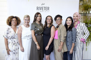 """(L-R) Bridgid Coulter, Alison Sweeney, Mandana Dayani, Founder of The Riveter Amy Nelson, Mimi G, Melissa Magsaysay, and Rebecca King-Crews attend The Riveter's """"Elevating Women In Their Work"""" Pop-Up Event at Farmhouse on August 23, 2019 in Los Angeles, California."""