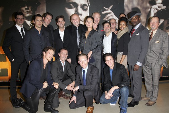 'Mob City' Screening in Hollywood [social group,event,suit,team,formal wear,white-collar worker,frank darabont,actors,president,ed burns,head of programming,micah parker,milo ventimiglia,back row,tnt,mob city screening]