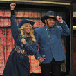 She wears funny denim outfits with Jimmy Fallon.