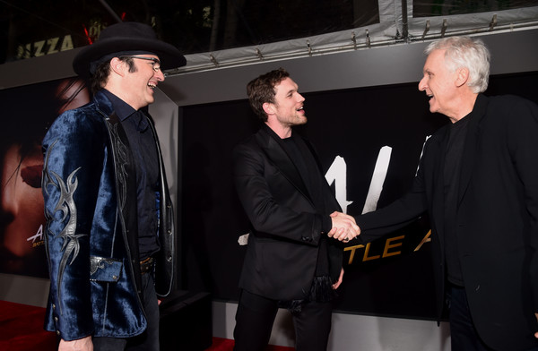 Premiere Of 20th Century Fox's 'Alita: Battle Angel' - Red Carpet [alita: battle angel - red carpet,event,fashion,premiere,performance,suit,ed skrein,james cameron,robert rodriguez,l-r,westwood regency theater,los angeles,20th century fox,premiere,premiere]
