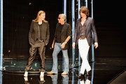 (L-R) Eva Cavalli, Roberto Cavalli and son Daniele Cavalli acknowledge the audience at the end of the Roberto Cavalli Collection show as part of Milan Fashion Week Menswear Spring/Summer 2013 on June 24, 2012 in Milan, Italy.