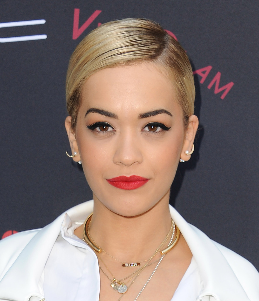 Singer/songwriter Rita Ora arrives at the Roc Nation Pre-Grammy brunch presented by MAC Viva Glam at a private residency on January 25, 2014 in Los Angeles, California.