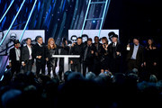 Bruce Springsteen and the E Street Band speak onstage at the 29th Annual Rock And Roll Hall Of Fame Induction Ceremony at Barclays Center of Brooklyn on April 10, 2014 in New York City.