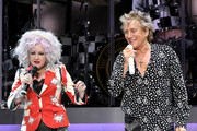 Cyndi Lauper and Rod Stewart perform at Madison Square Garden on August 7, 2018 in New York City.