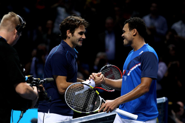 Roger Federer Roger Federer (L) of Switzerland is congratulated by opponent Jo-Wilfried Tsonga of France following his victory in the men's final singles match during the Barclays ATP World Tour Finals at the O2 Arena on November 27, 2011 in London, England.