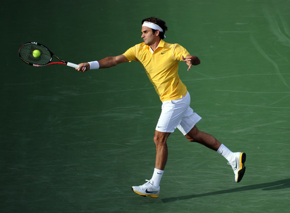 Roger Federer Roger Federer of Switzerland hits a forehand in his match against Igor Andreev of Russia during the BNP Paribas Open at the Indian Wells Tennis Garden on March 13, 2011 in Indian Wells, California.