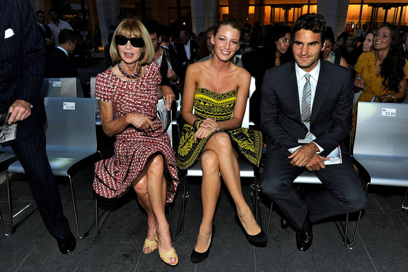 Roger Federer (L-R) Editor-in-Chief of Vogue Anna Wintour, actress Blake Lively and tennis player Roger Federer attend Fashion's Night Out: The Show at Lincoln Center on September 7, 2010 in New York City.