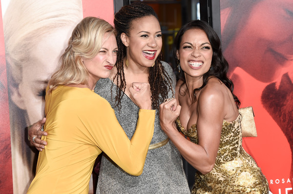 Premiere of Warner Bros. Pictures' 'Unforgettable' - Arrivals [unforgettable,photo,event,fun,yellow,friendship,fashion,party,dress,smile,long hair,leisure,arrivals,rosario dawson,tracie thoms,zoe bell,l-r,warner bros. pictures,premiere,premiere]