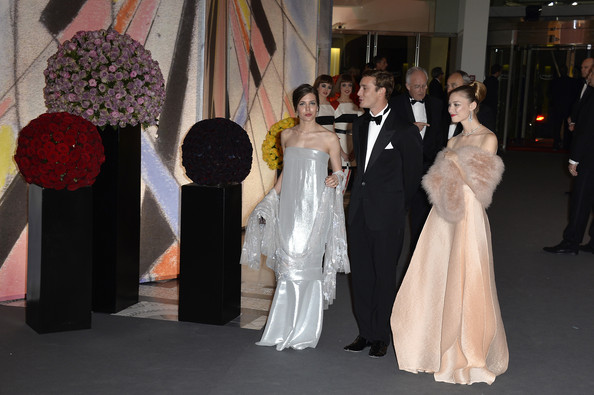 Charlotte Casiraghi, Pierre Casiraghi and Beatrice Borromeo attend the Rose Ball 2014 in aid of the Princess Grace Foundation at Sporting Monte-Carlo on March 29, 2014 in Monte-Carlo, Monaco.