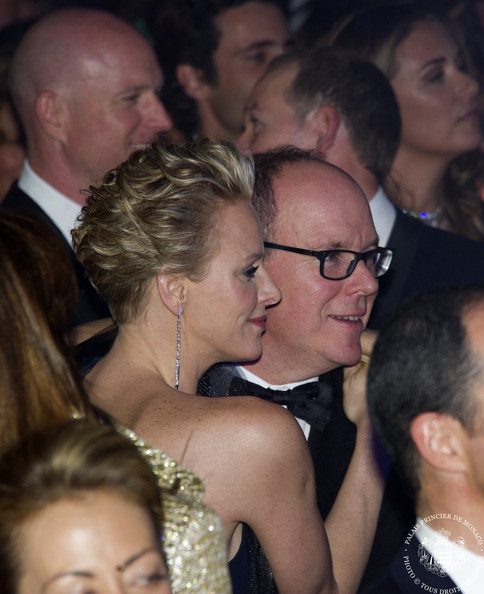 (VOICI, CLOSER, FRANCE DIMANCHE, ICI PARIS, ENTREVUE & PUBLIC OUT FOR FRANCE) (TABLOID OUT) Princess Charlene of Monaco and Prince Albert II of Monaco attend the Rose Ball 2014 in aid of the Princess Grace Foundation at Sporting Monte-Carlo on March 29, 2014 in Monte-Carlo, Monaco.