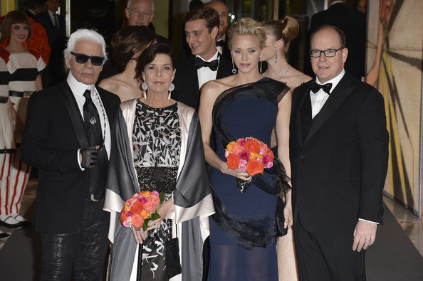 Karl Lagerfeld, Princess Caroline of Hanover, Princess Charlene of Monaco and Prince Albert II of Monaco attend the Rose Ball 2014 in aid of the Princess Grace Foundation at Sporting Monte-Carlo on March 29, 2014 in Monte-Carlo, Monaco.