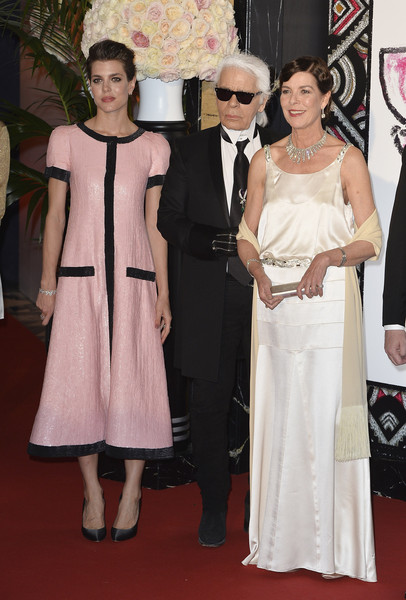 (L-R) Charlotte Casiraghi, Karl Lagerfeld and Princess Caroline of Hanover attend the Rose Ball 2015 in aid of the Princess Grace Foundation at Sporting Monte-Carlo on March 28, 2015 in Monte-Carlo, Monaco.