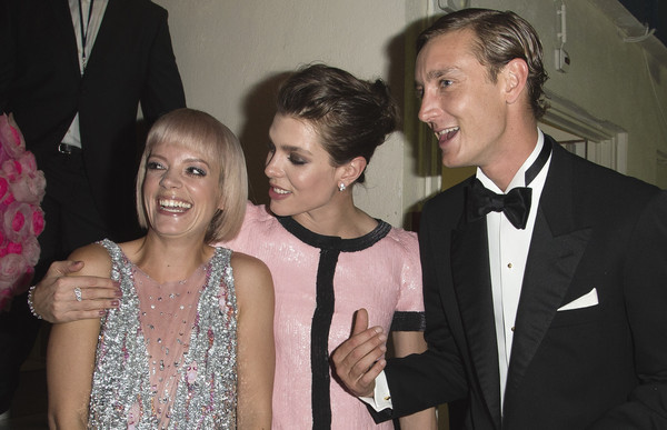 (L-R) Lily Allen, Charlotte Casiraghi and Pierre Casiraghi attend the Rose Ball 2015 in aid of the Princess Grace Foundation at Sporting Monte-Carlo on March 28, 2015 in Monte-Carlo, Monaco.