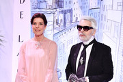 Princess Caroline of Hanover and Karl Lagerfeld arrive at the Rose Ball 2018 To Benefit The Princess Grace Foundation at Sporting Monte-Carlo on March 24, 2018 in Monte-Carlo, Monaco.