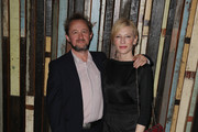 Andrew Upton and Cate Blanchett arrive at the opening night of Rosencrantz & Guildenstern are Dead at the Sydney Theatre Company on August 10, 2013 in Sydney, Australia.