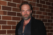 Hugo Weaving arrives at the opening night of Rosencrantz & Guildenstern are Dead at the Sydney Theatre Company on August 10, 2013 in Sydney, Australia.