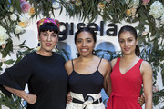 Spanish actresses Rosy de Palma (L), Luna Lionne (C) and Hiba Abouk (R) present the 'Comment Tu T'appelles' fashion film at Sala Equis cinema on May 9, 2018 in Madrid, Spain.