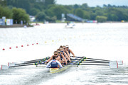 Anastasia Merlott Chitty, Rebecca Girling, Fiona Gammond, Katherine Douglas, Holly Hill, Holly Norton, Karen Bennett, Rebecca Shorton and Matilda Horn of Great Britain compete in the women's eight preliminary race for lanedq during the rowing on Day two of the European Championships Glasgow 2018 at Strathclyde Country Park on August 3, 2018 in Glasgow, Scotland.