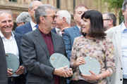 Eric Clapton and Catherine Mayer (founder Women's Equality Party) attend the launch of the Royal Albert Hall 'Walk Of Fame' at Royal Albert Hall on September 4, 2018 in London, England.