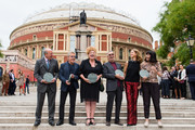 (L-R) Randolph Churchill (grandson of Sir Winston Churchill), Roger Daltrey, Eve Ferret, Eric Clapton, Katie Derham and Catherine Mayer (founder Women's Equality Party) attend the launch of the Royal Albert Hall 'Walk Of Fame' at Royal Albert Hall on September 4, 2018 in London, England.