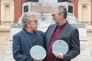 (L-R) Roger Daltrey and Eric Clapton attend the launch of the Royal Albert Hall 'Walk Of Fame' at Royal Albert Hall on September 4, 2018 in London, England.