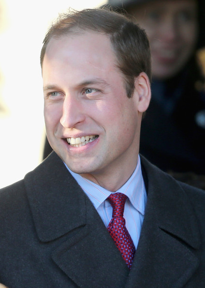 Prince William, Duke of Cambridge leaves the Christmas Day service at Sandringham on December 25, 2013 in King's Lynn, England.