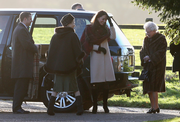 Queen Elizabeth II and Catherine, the Duchess of Cambridge arrives at the Christmas Day service at Sandringham on December 25, 2013 in King's Lynn, England.