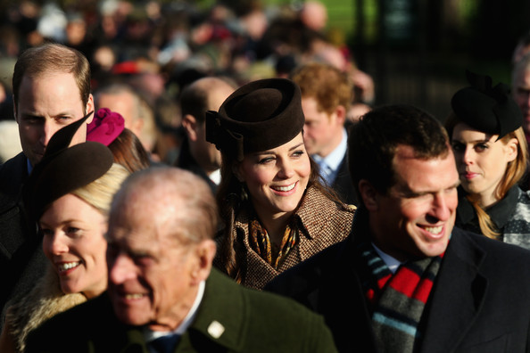 (L-R) Prince William, Duke of Cambridge, Autumn Phillips, Prince Phillip, Duke of Edinburgh, Catherine, Duchess of Cambridge, Peter Phillips and Princess Beatrice of York arrive for Christmas Day Service at Sandringham Church on December 25, 2014 in King's Lynn, England.
