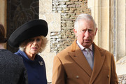 Prince Charles, Prince of Wales and Camilla, Duchess of Cornwall attend a Christmas Day church service at Sandringham on December 25, 2016 in King's Lynn, England.