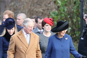 (L-R)  Autumn Phillips, Prince Harry, Prince Charles, Prince of Wales, Princess Eugenie and Camilla, Duchess of Cornwall attend a Christmas Day church service at Sandringham on December 25, 2016 in King's Lynn, England.