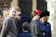 (L-R) Prince Edward, Earl of Wessex, James, Viscount Severn, Princess Eugenie and Camilla, Duchess of Cornwall attend a Christmas Day church service at Sandringham on December 25, 2016 in King's Lynn, England.