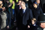 Prince William, Duke of Cambridge, Catherine, Duchess of Cambridge and Prince George attend the Christmas Day Church service at Church of St Mary Magdalene on the Sandringham estate on December 25, 2019 in King's Lynn, United Kingdom.
