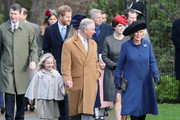 (L-R) Savannah Phillips, Prince Harry, Prince Charles, Prince of Wales, Princess Eugenie and Camilla, Duchess of Cornwall attend a Christmas Day church service at Sandringham on December 25, 2016 in King's Lynn, England.
