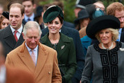 (L-R) Prince William, Duke of Cambridge, Prince Charles,Prince of Wales, Catherine, Duchess of Cambridge and Camilla, Duchess of Cornwall attend a Christmas Day church service at Sandringham on December 25, 2015 in King's Lynn, England.