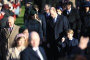Prince Charles, Prince of Wales , Prince William, Duke of Cambridge, Catherine, Duchess of Cambridge and Prince George attend the Christmas Day Church service at Church of St Mary Magdalene on the Sandringham estate on December 25, 2019 in King's Lynn, United Kingdom.