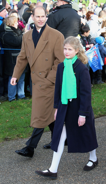 Prince Edward, Earl of Wessex and Lady Louise Windor attend the Christmas Day Service at Sandringham Church on December 25, 2014 in King's Lynn, England.