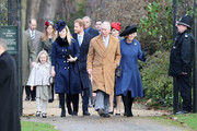 (L-R) Savannah Phillips, Autumn Phillips, Prince Harry, Prince Charles, Prince of Wales, Princess Eugenie and Camilla, Duchess of Cornwall attend a Christmas Day church service at Sandringham on December 25, 2016 in King's Lynn, England.
