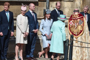 (L-R) Prince Harry, Duke of Sussex, Zara Tindall, Mike Tindall, Catherine, Duchess of Cambridge and Prince William, Duke of Cambridge greet Queen Elizabeth II as she arrives for the Easter Sunday service at St George's Chapel on April 21, 2019 in Windsor, England.