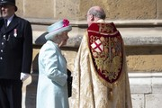 Queen Elizabeth II attends Easter Sunday service at St George's Chapel on April 21, 2019 in Windsor, England.