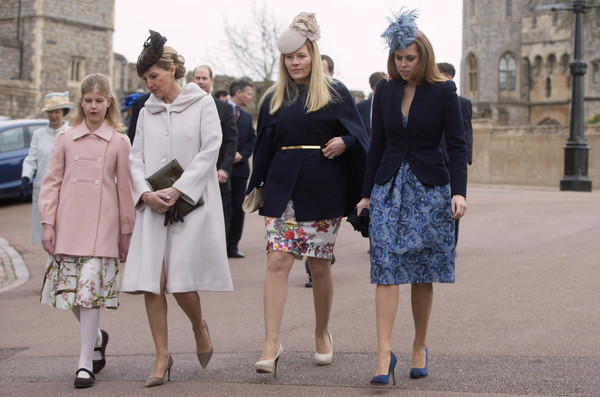 (L-R) Lady Louise Windsor, Sophie, Countess of Wessex, Autumn Phillips and Princess Beatrice arrive to attend the Easter Sunday service at St George's Chapel at Windsor Castle on April 5, 2015 in Windsor, England.